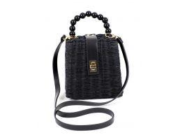 Kuferek torebka czarna wiklinowa-DEL SANTO-